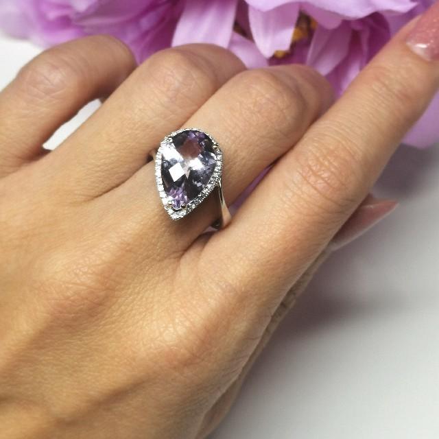 大粒アメシスト『ローズドフランス』4.57ct K18WGリング レディースのアクセサリー(リング(指輪))の商品写真