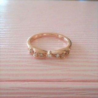 ヨンドシー(4℃)の最終価格♪【4℃】K10☆1号☆リボンリング☆ダイヤモンド&ルビー(リング(指輪))