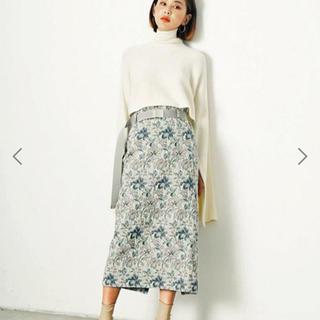 ルシェルブルー(LE CIEL BLEU)のBelted Floral Jacquard Skirt(ひざ丈スカート)