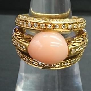 珊瑚 デザインリング  メレダイヤ(リング(指輪))