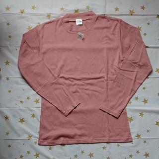 低めのハイネック 長袖Tシャツ グレイッシュピンク LL 未着用品 (Tシャツ(長袖/七分))