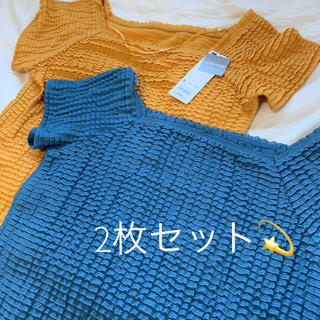 しまむら - GU ジーユー レースワイドネックT トップス Tシャツ 2枚セット