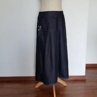 フリフ(ふりふ)のふりふ 膝丈デニムスカート 猫イラスト付ポケット (ひざ丈スカート)