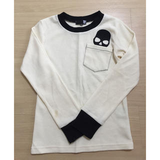 【スカル刺繍】ロングTシャツ  140(Tシャツ/カットソー)