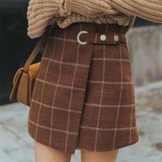 L チェック 柄 スカート ミニ丈 巻きスカート風 Aライン ブラウン (ミニスカート)