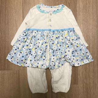 petit main - アプレレクール 花柄 ロンパース 70 ブルー 女の子