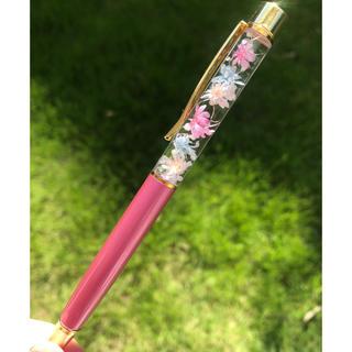 【替芯付き】お花いっぱい♡持ち手はシャンパンピンク☆ハーバリウムボールペン   (プリザーブドフラワー)