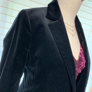 ロートレアモン(LAUTREAMONT)の美品ロートレアモンの濃紺艶やかベロアジャケット(テーラードジャケット)