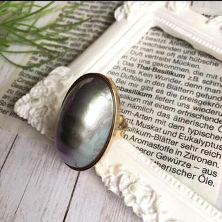 グレー シェルパール 風 オーバル フリーサイズ リング(リング(指輪))