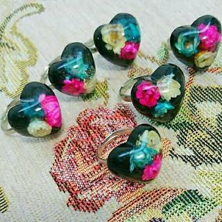 フリーサイズ リング 3色小花 おとな可愛い ビッグハート 送料込み(リング(指輪))