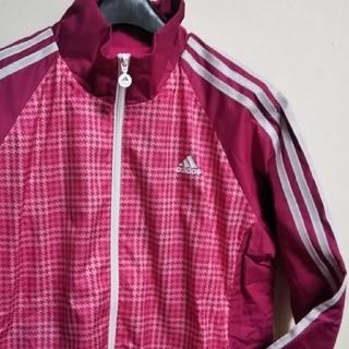 adidas ナイロン ジャージ OTサイズ 内側フリース素材 ピンク系(ブルゾン)