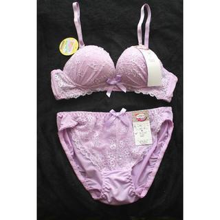 新品♥ラベンダーパープル ノンワイヤー ブラ&ショーツ M セット痛くない紫(ブラ&ショーツセット)