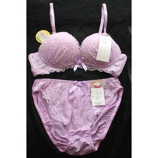新品♥ラベンダーパープル ノンワイヤー ブラ&ショーツ L セット痛くない紫(ブラ&ショーツセット)