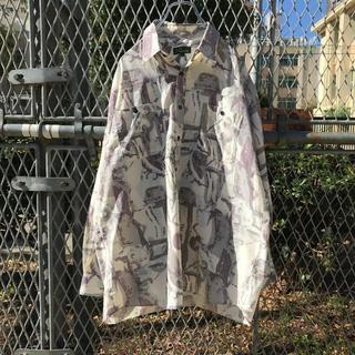 10dc 古着 長袖 ポリシャツ デザインシャツ 総柄 アート モード 柄シャツ(シャツ)