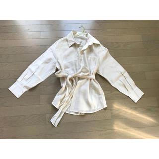 韓国 購入 シャツワンピース リボン付き(シャツ/ブラウス(長袖/七分))