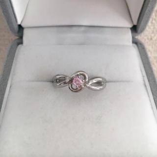 ダイヤモンド×ピンクサファイア リング Pt900 0.02ct 4.6g(リング(指輪))