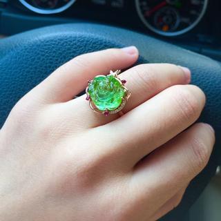 【高級】花型 グリーン トルマリン リング k18 ダイヤ 4.66g(リング(指輪))