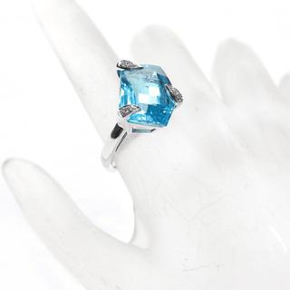 ブルートパーズ ダイヤモンド リング K18(リング(指輪))