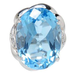 ブルートパーズ ダイヤモンド リング・指輪 Pt900(リング(指輪))