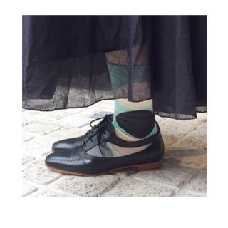 ドゥーズィエムクラス(DEUXIEME CLASSE)の【新品】Pertini マニッシュ 黒 メッシュ レースアップ ローファー 革靴(ローファー/革靴)