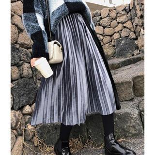 リエンダ(rienda)の【予約販売】ベロア配色プリーツロングスカート❤︎ブラック(ロングスカート)