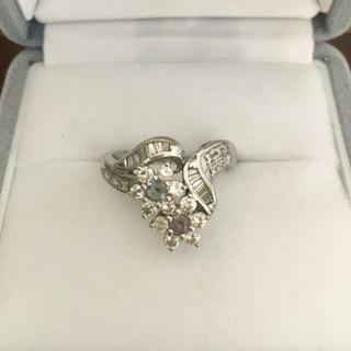ダイヤモンド×アレキサンドライト リング Pt900 0.18ct 0.66ct(リング(指輪))