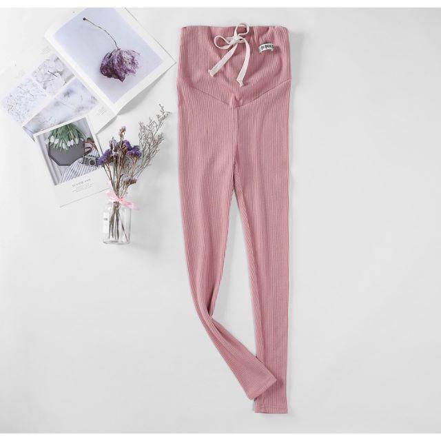 【XL,ピンク】マタニティ レギンス パンツ リブレギンス S18 レディースのルームウェア/パジャマ(ルームウェア)の商品写真