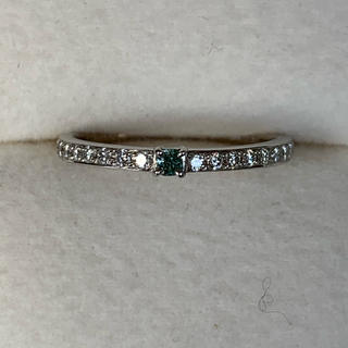 Fancy vivid green blue ダイヤモンドリング 0.052ct(リング(指輪))