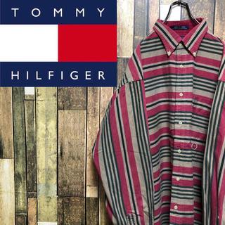 トミーヒルフィガー(TOMMY HILFIGER)の【激レア】トミーヒルフィガー☆オールド刺繍ロゴレトロマルチボーダービッグシャツ(シャツ)