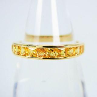 K18 イエローサファイア ダイヤモンド リング 12号 [g94-2](リング(指輪))