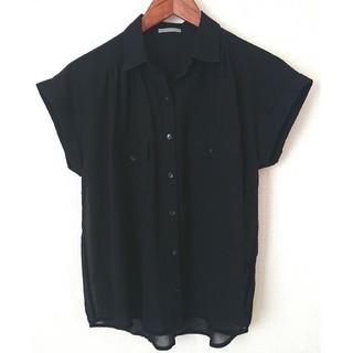 ジーユー(GU)のGU 半袖シャツ 黒(シャツ/ブラウス(半袖/袖なし))