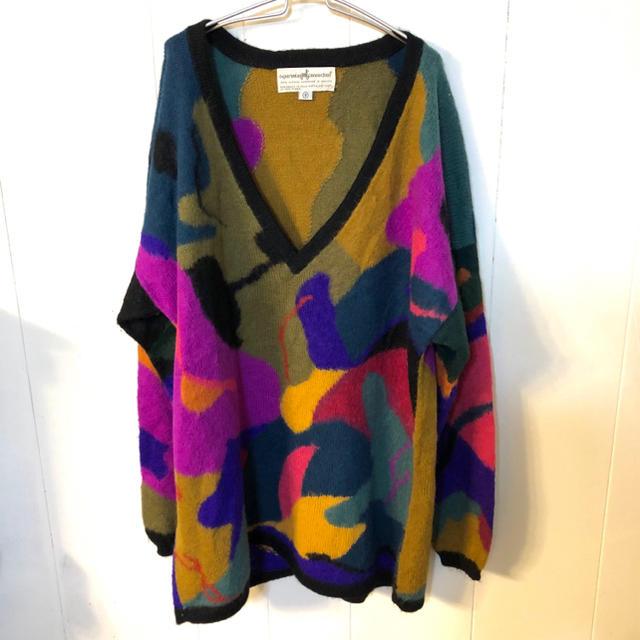 80s  マルチカラー vintageセーター アルパカ レディースのトップス(ニット/セーター)の商品写真