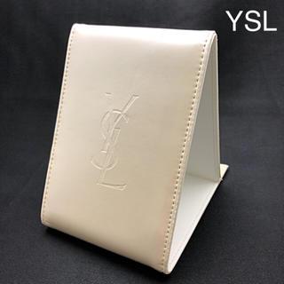 イヴサンローランボーテ(Yves Saint Laurent Beaute)の【新品】イヴ・サンローラン YSL 折りたたみ式ミラー 白 非売品 ノベルティ(ミラー)
