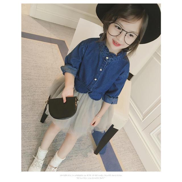 韓国風 大人気なデニムチュール子供ワンピース キッズ/ベビー/マタニティのキッズ服 女の子用(90cm~)(ワンピース)の商品写真