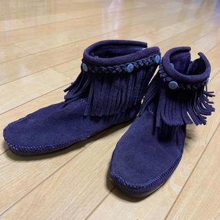 ミネトンカ(Minnetonka)のミネトンカ  Mサイズハイトップバックジップブーツ美品パープル(ブーツ)