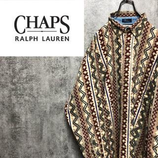 Ralph Lauren - 【激レア】チャップスラルフローレン☆ネイティブストライプ総柄シャツ 90s
