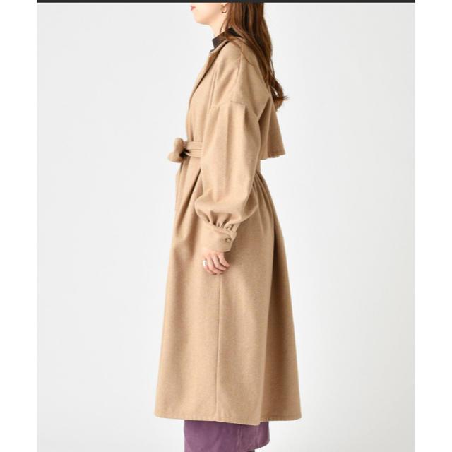 mystic(ミスティック)のヨークギャザーコート ブラック レディースのジャケット/アウター(ロングコート)の商品写真