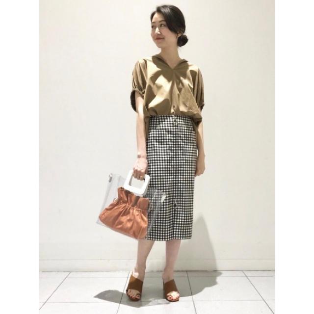 Noble(ノーブル)のNOBLE ギンガムチェックフープジップタイトスカート◆ レディースのスカート(ひざ丈スカート)の商品写真