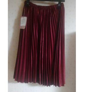 クチュールブローチ(Couture Brooch)のクチュールブローチプリーツ加工スカート38新品MLフリーワインレッド(ひざ丈スカート)