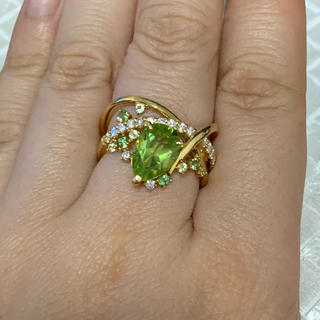【確認用】K18 ペリドットとダイヤモンドの王冠リング(リング(指輪))