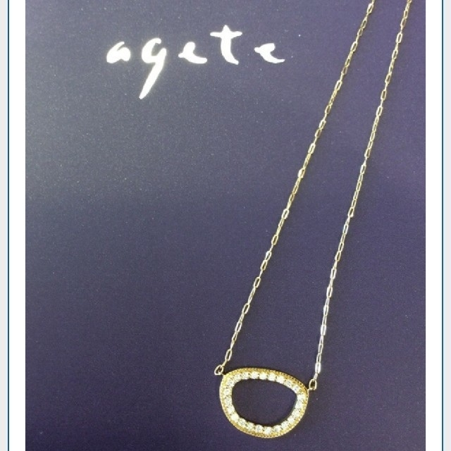 agete(アガット)のagete/K18/ダイヤネックレス/オーバル/サークル レディースのアクセサリー(ネックレス)の商品写真