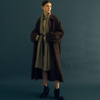 SUNSEA - 【YOKE】DOUBLE JQUARD KNIT BAL COLLAR COAT