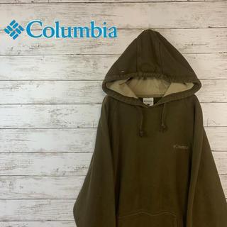 コロンビア(Columbia)の【人気】コロンビア  パーカー すくみブラウン 刺繍ロゴ 茶色 オーバーサイズ(パーカー)