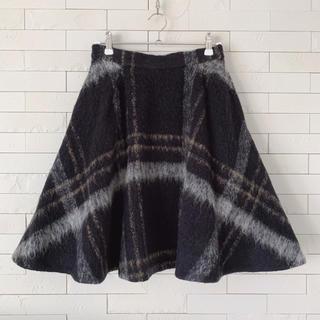 snidel - 美品♡スナイデル  ウール シャギー チェック フレアスカート モヘア混 黒♡