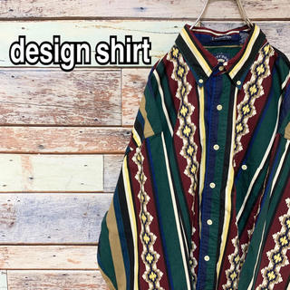 ストライプシャツ 90s ビッグシルエット マルチカラーBDシャツ 総柄 XL(シャツ)