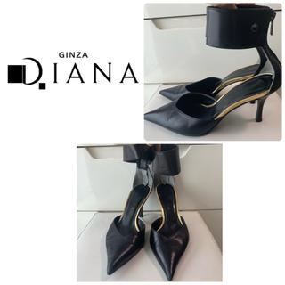 DIANA - ダイアナ ブラックレザー  アンクルストラップ パンプス