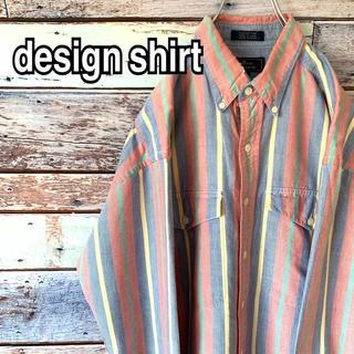 ストライプシャツ 90s ビッグシルエット マルチカラー BDシャツ 古着(シャツ)