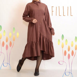 merlot - 【Fillil/フィリル】アシメ裾フリルウエストタックワンピース★ベージュ