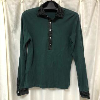 コムサイズム(COMME CA ISM)のカットソー L トップス リブニット グリーン 水玉 コムサイズム(Tシャツ/カットソー(七分/長袖))