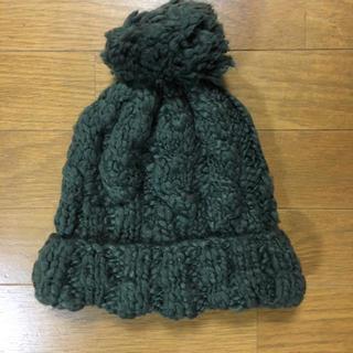 ダークグリーン ニット帽(ニット帽/ビーニー)